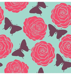 seamless pattern with roses and butterflies vector image vector image