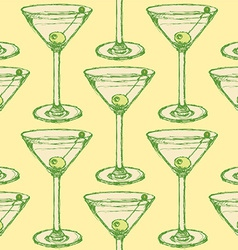 Sketch martini glass with olive in vintage style vector image vector image