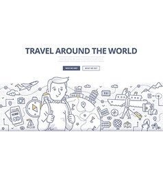 Traveling the World Doodle Concept vector image vector image