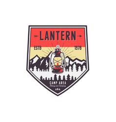 vintage hand drawn camping logo with lantern vector image