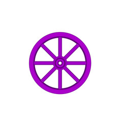 vintage wooden wheel in purple design vector image