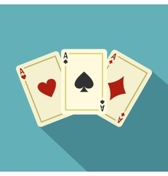 Aces playing cards icon flat style vector image vector image