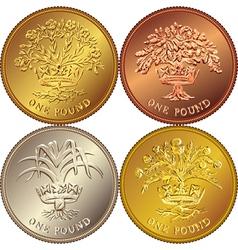 British money gold one pound vector image