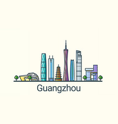 flat line guangzhou banner vector image vector image