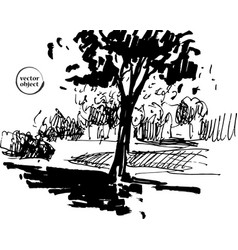 ink of growing trees with some grass vector image vector image