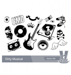 music grunge elements vector image vector image