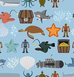 Ocean life seamless pattern Shark and aquatic vector image