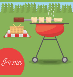 Picnic grilled basket meadow tree vector
