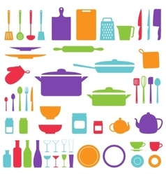 silhouette of kitchen tools vector image