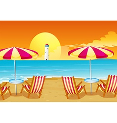 Two umbrellas and four chairs at the beach vector image vector image