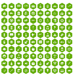 100 elephant icons hexagon green vector