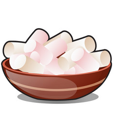 a bunch of marshmallows in a clay bowl isolated on vector image