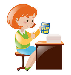 Accountant calculating numbers with calculator vector
