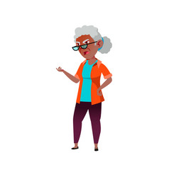 Annoyed old african woman shouting at pharmacy vector