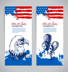 Banners of 4th July backgrounds vector