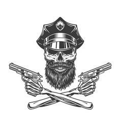 bearded and mustached police officer skull vector image