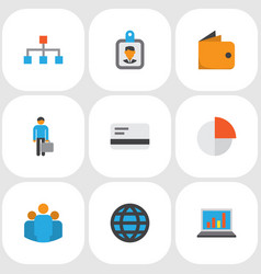 business icons flat style set with circle graph vector image