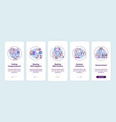 Business travel types onboarding mobile app page vector