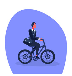 businessman riding bicycle office worker business vector image