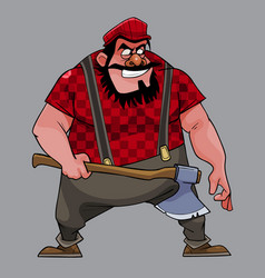 Cartoon treacherous man big guy with an ax vector