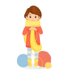 cheerful woman knits a scarf vector image