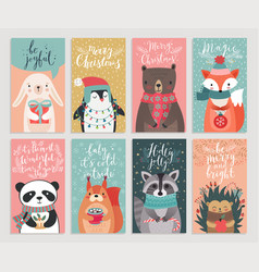 Christmas cards with animals hand drawn style vector