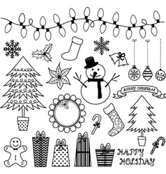 Christmas Doodles Collections vector image