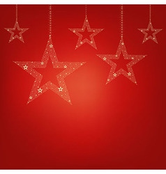 Christmas Red Card Christmas Stars vector image