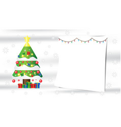 christmas tree snowflake gift composition on white vector image