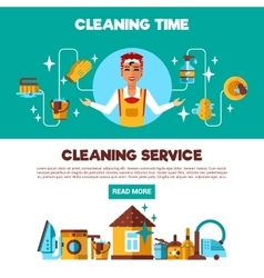 Clening Service 2 Flat Banners Set vector