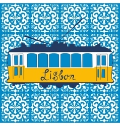 Colorful traditional lisbon tram vector