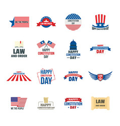 Constitution day usa logo icons set flat style vector