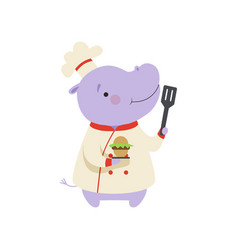 cute hippo in chef uniform holding cupcake and vector image