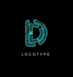 Cyber letter d for digital technology logo concept vector