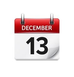 December 13 flat daily calendar icon vector