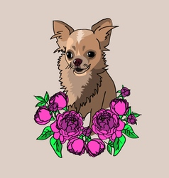 Dog-in-flowers vector