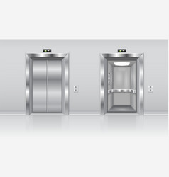 elevator doors metal closed and open doors on the vector image