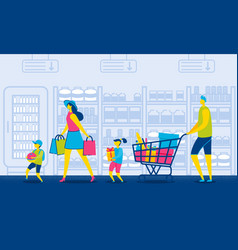 family in mall with grocery cart consumerism vector image