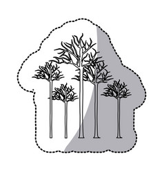 figure bare oak trees icon vector image
