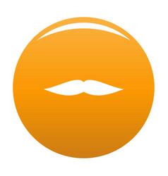 Flat mustache icon orange vector