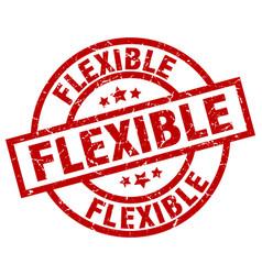 Flexible round red grunge stamp vector