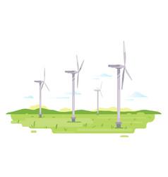 floating wind turbine on field vector image