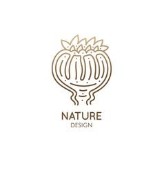 Flower bud linear logo decorative plant icon vector
