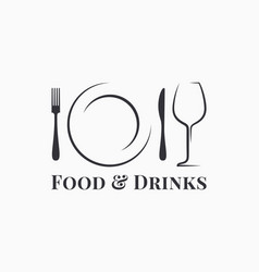 Food and drink logo plate with wine glass vector