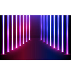 glowing neon lines direction in perspective vector image