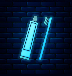Glowing neon tube toothpaste and toothbrush vector