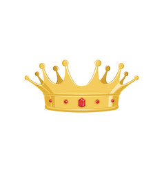 golden ancient crown with red precious stones for vector image