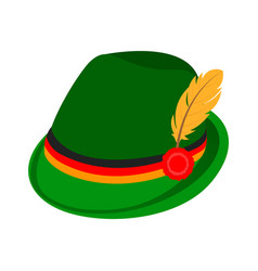 Green traditional german hat icon isometric style vector