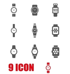 Grey wristwatch icon set vector