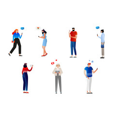 group of people with gadgets vector image
